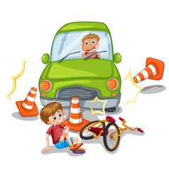 Accident scene with car crashing a bike vector
