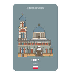 Alexander nevsky cathedral in lodz poland vector