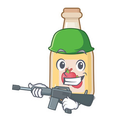 Army cartoon apple cider in a glass vector
