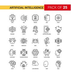 artificial intelligence black line icon - 25 vector image