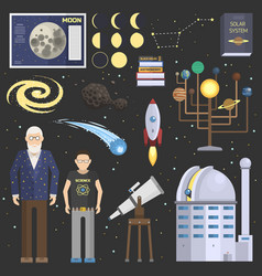 astronomy oldman and school boy symbolsstickers vector image