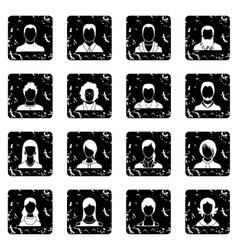 Avatars set set icons grunge style vector image