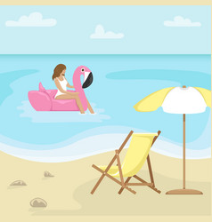 beach landscape with sunbed and sun umbrella vector image