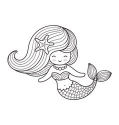 Beautiful mermaid with long hair vector