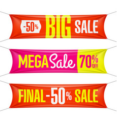 Big super final mega sale vinyl banners vector