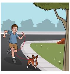 Boy walking dog vector