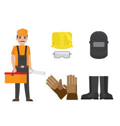 Builder with toolbox plan and protective clothing vector