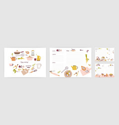 Bundle of recipe card templates for making notes vector
