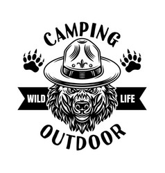 Camping emblem or logo with scout bear vector