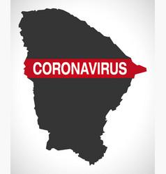 Ceara brazil map with coronavirus warning vector