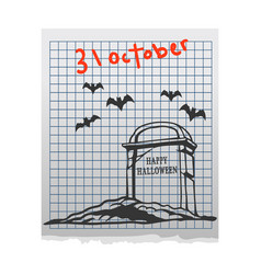 Cemetery doddle on paper vector