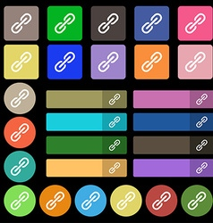Chain Icon sign Set from twenty seven multicolored vector