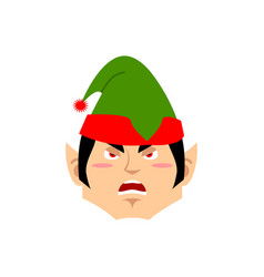 Christmas elf angry emoji santa helper aggressive vector