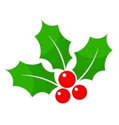 Christmas holly berry flat icon in cartoon style vector