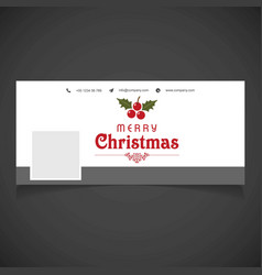 Christmas social media cover with cherries vector