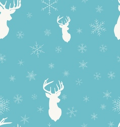 Christmas winter seamless pattern Head deer vector image