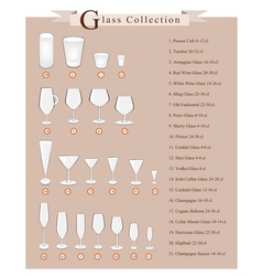 Cocktail and wine glasses collection vector