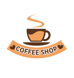 Coffee shop colorful flat logotype isolated on vector
