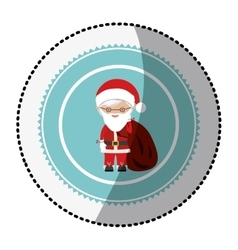 Color circle with middle shadow sticker with santa vector
