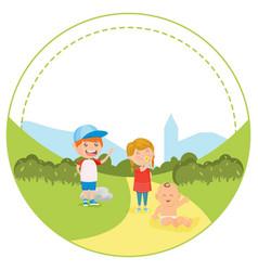 Colorful happy kids in rural landscape vector