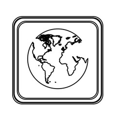contour emblem earth planet icon vector image