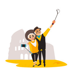 Couple make selfie on rio christ backround vector