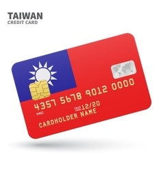 Credit card with Taiwan flag background for bank vector