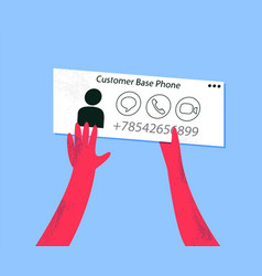 customer base phone person with business card vector image