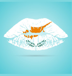 cyprus flag lipstick on the lips isolated on a vector image
