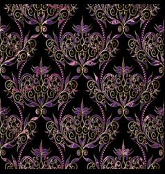 Damask seamless pattern floral black violet gold vector