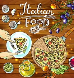 Decorative food- beautiful hand-draw pizza and vector