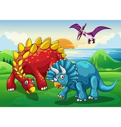 Dinosaurs in the park vector