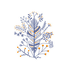 Feather with flowers in dark blue vector