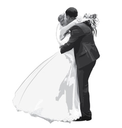 Figures hugging honeymooners in gray vector