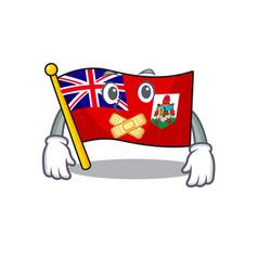 Flag bermuda cartoon on pole silent vector