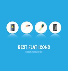 flat icon smartphone set of screen keep phone vector image