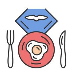 Flight breakfast color icon vector