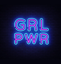 girl power neon sign grl pwr design vector image