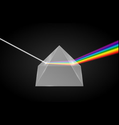 Glass pyramid refraction light vector