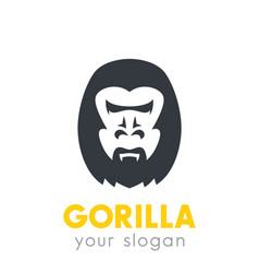 Gorilla head logo element over white vector