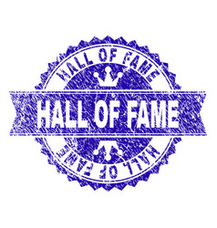 Grunge textured hall of fame stamp seal with vector