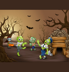 Halloween zombie walking in the dead forest vector