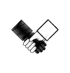 Hand drawing handshake team symbol vector