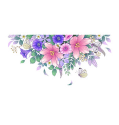 Hand drawn beautiful flowers and butterflies vector