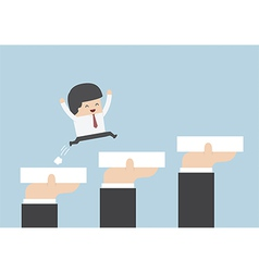 Hands holding blocks to help businessman to go to vector image