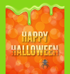 happy halloween poster with spider vector image