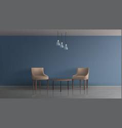 Hotel lunge area interior realistic mock vector