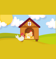House hen rooster chicken and eggs farm animal vector