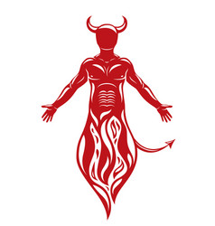 Human being standing in flame mystic infernal vector