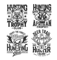 hunting club t shirt prints safari hunt animals vector image